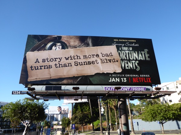 Unfortunate Events story with more bad turns Sunset Blvd billboard