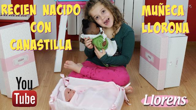 Muñeca negrita llorona y recien nacido con canastilla Muñecas Llorens - Blog Mama de Noa