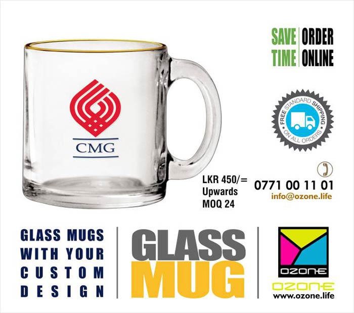 Glass Mugs Printing with your details