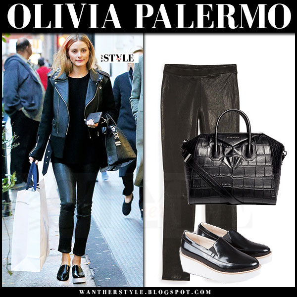 Olivia Palermo in black biker jacket, black leather leggings and black patent wedges sol sana tabbie what she wore street style