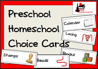 Free preschool homeschool choice cards from Raki's Rad Resources.