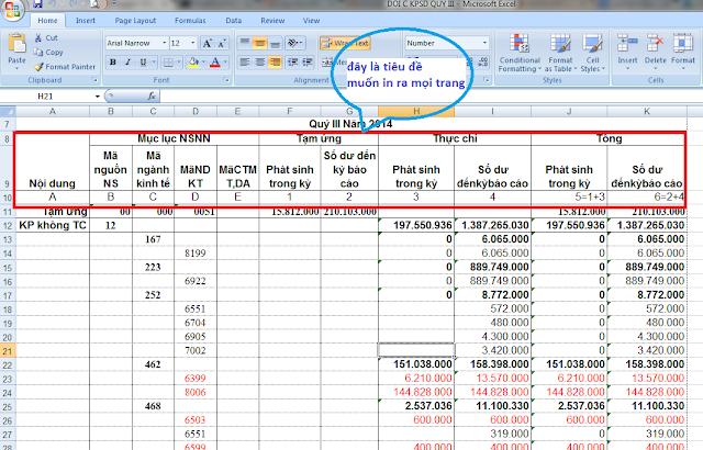 [Học Excel] - Cách in tiêu đề lặp lại khi qua trang mới trong Excel