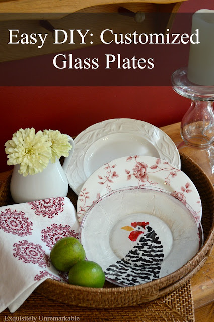 Custom DIY Stenciled Glass Plates
