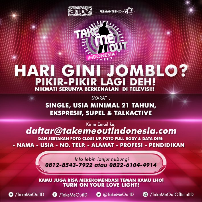 Cara Daftar Take Me Out Indonesia 2016 di ANTV