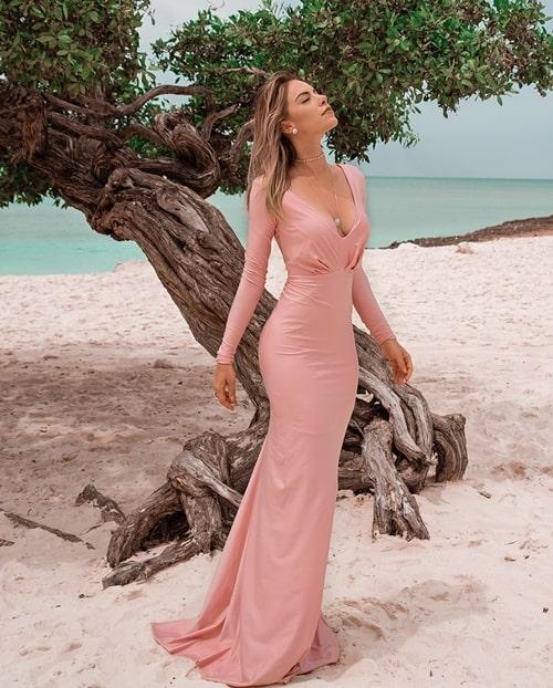 vestido rosa para madrinha com manga longa