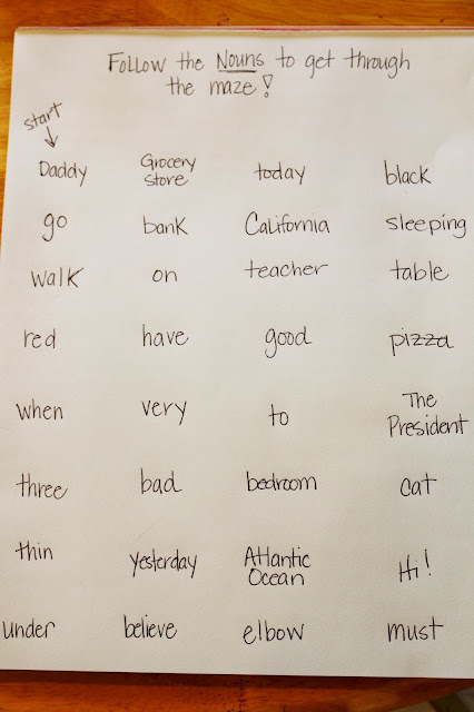 noun maze language arts activity