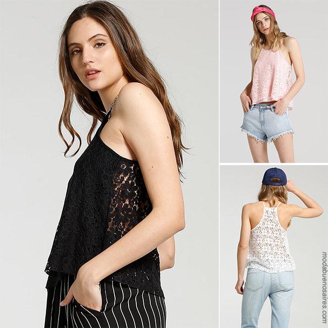 Blusas con encaje transparencia Moda 2018 verano mujer.