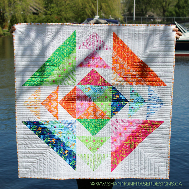 Spring is in the Air Quilt | Modern Baby Quilt | Shannon Fraser Designs | Nursery Decor | Wall Hanging | Textile Art | Modern Quilting