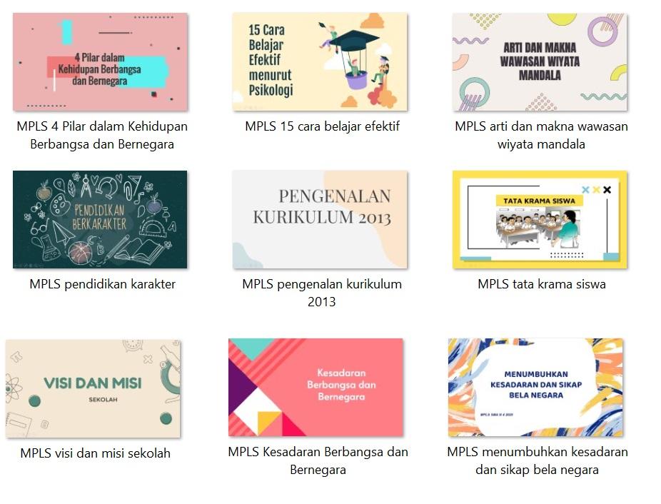 Download 9 Materi Masa Perkenalan Lingkungan Sekolah (MPLS) Untuk Siswa Baru Tingkat SD, SMP, atau SMA