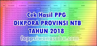 Hasil PPG Dikpora Pronvinsi NTB Tahun 2018