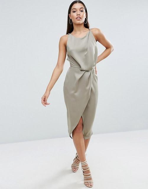 silver drape front midi dress, silver midi dress,