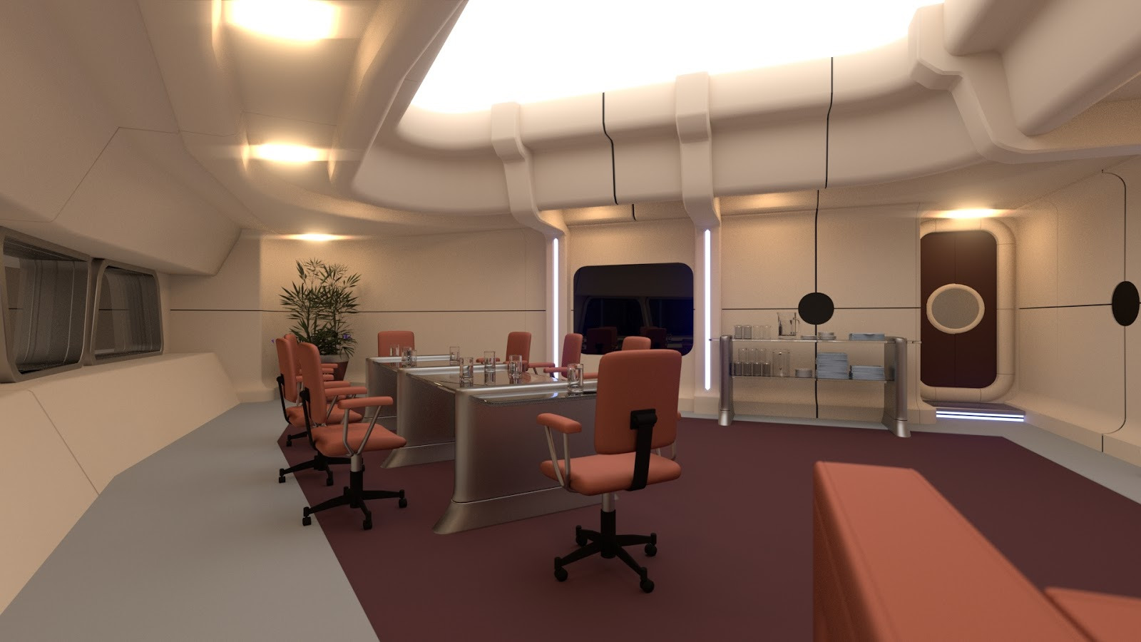 Dan brown cgi sci fi art conference room nearly done for Sci fi decor