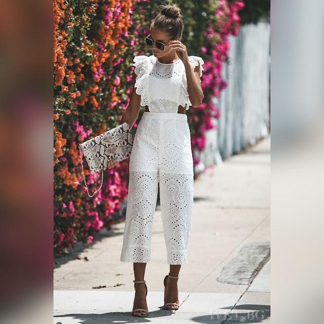 Μεσάτη  άσπρη ολόσωμη φόρμα ELLIA