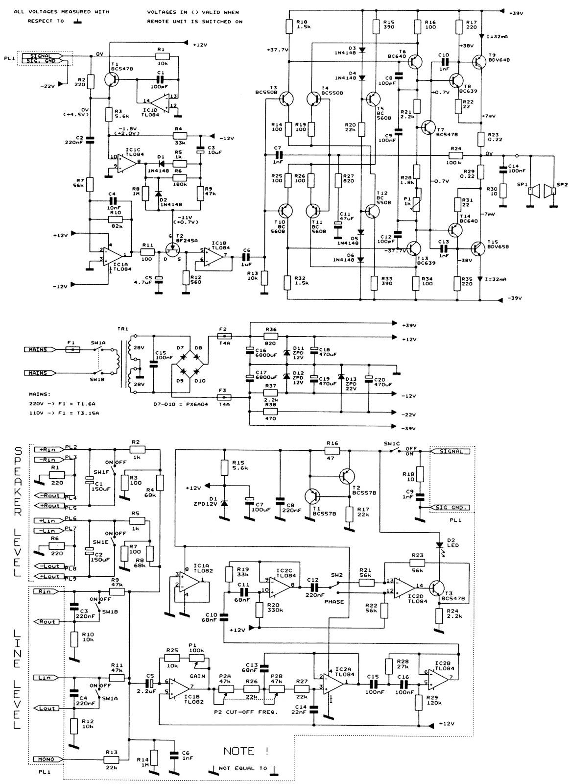 Schematic Diagrams: Jamo MPA201, Jamo SW600E, Jamo A300