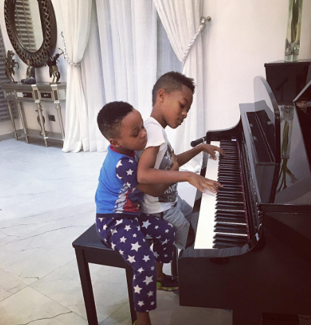 Aww, check out this cute photo of Peter & Paul Okoye's sons playing the piano