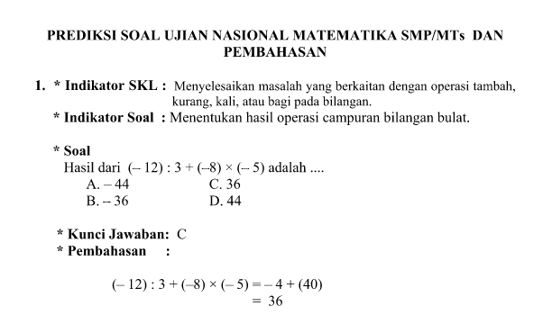 Contoh Soal Soal Matematika Mts Kelas 7 Semester 1