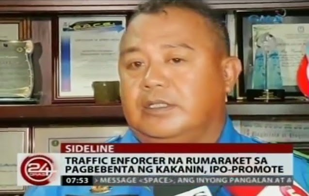 Traffic enforcer who sells 'kakanin' in EDSA gets MMDA's nod