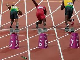 Man threw bottle before the start of the 100m final