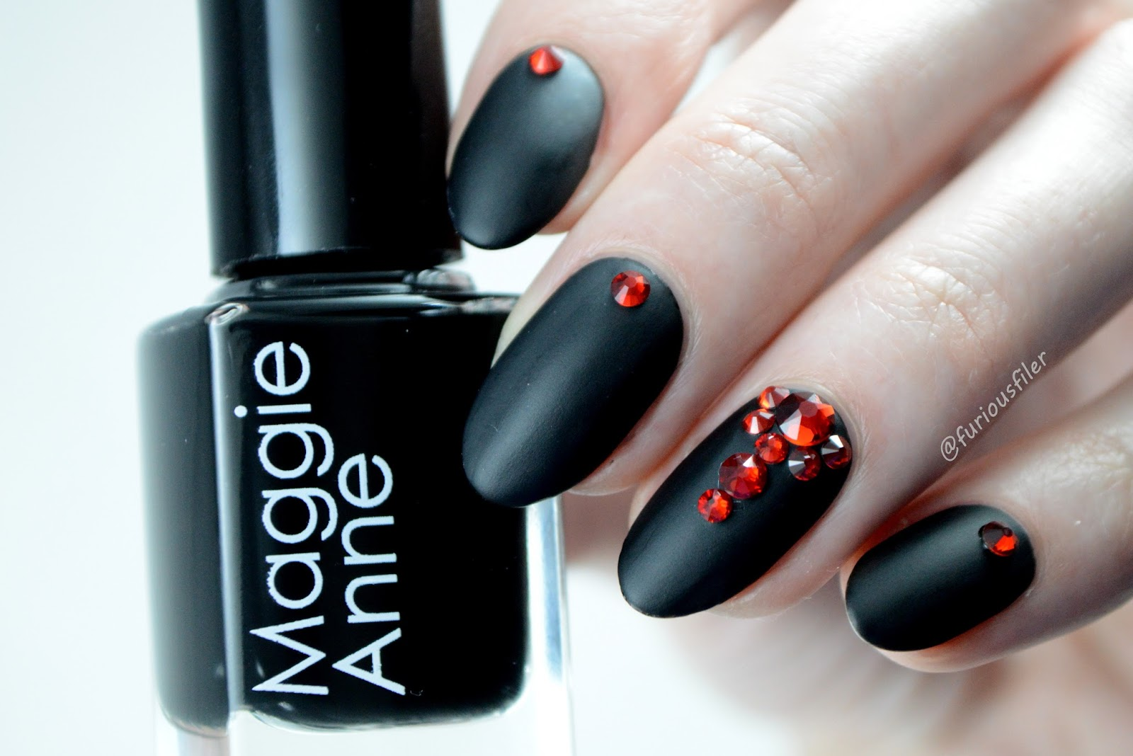 matte autumn nails swarovski crystals stones furious filer
