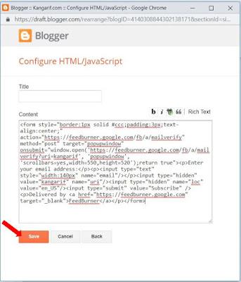 6. Paste Script feedburner yang anda copy tadi. Lalu Klik Save/Simpan.