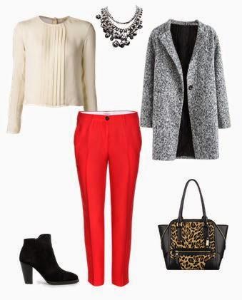 Calças vermelhas, botins pretos, camisola de malha bege e sobretudo cinza, mala preta e animal print