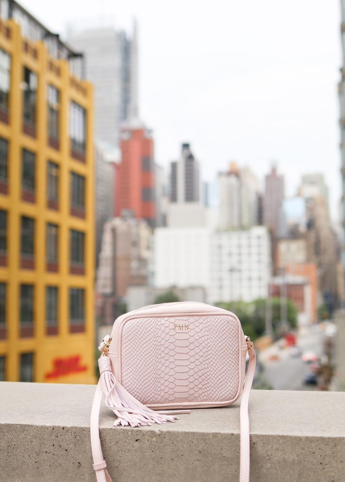 Gigi New York Pink Crossbody, GIGI New York pink crossbody monogrammed