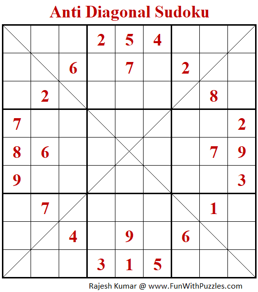 Anti Diagonal Sudoku Puzzle (Fun With Sudoku #381)