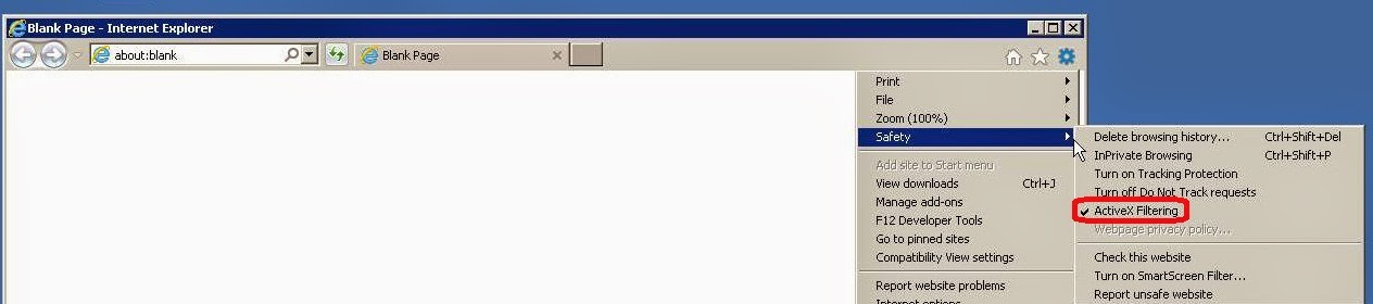 How to Turn ActiveX Filtering On Or Off in IE On Windows Server
