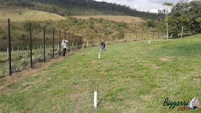 Dia 15 de setembro de 2016, Bizzarri visitando uma obra em sede da Fazenda em Atibaia-SP, onde estamos marcando com estacas para fazer a pista de cooper com o piso de saibro e execução do paisagismo.