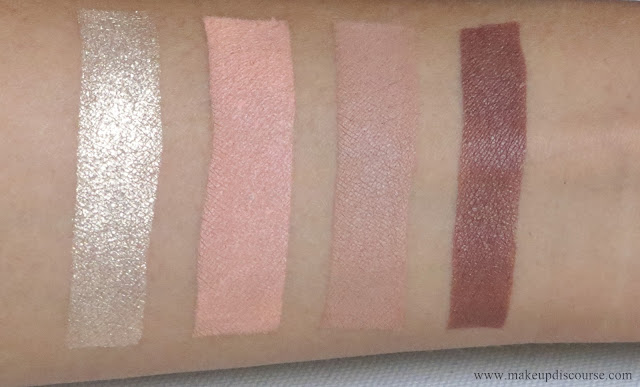 Colourpop Peachy Keen Supershock eyeshadow swatches. Golds, Oranges/Corals, Neutrals