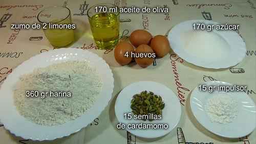 Bizcocho de limón y cardamomo. Ingredientes
