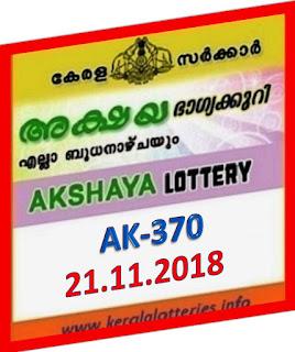 kerala lottery result from keralalotteries.info 21/11/2018, kerala lottery result 21-11-2018, kerala lottery results 11-11-2018, AKSHAYA lottery AK 370 results 21-11-2018, AKSHAYA lottery AK 370, live AKSHAYA   lottery AK-370, ,   AKSHAYA lottery results today, kerala lottery AKSHAYA today result, AKSHAYA kerala lottery result,