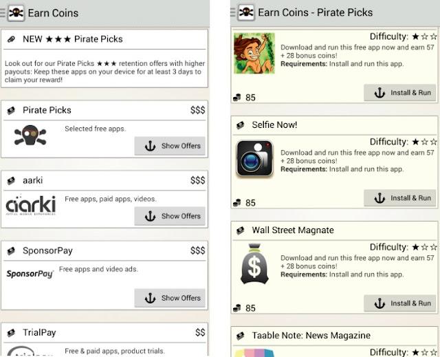 Menu-menu aplikasi CashPirate