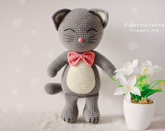 Cute Crochet Pattern Cat Doll, Cute Amigurumi Pattern Cat Doll, แพทเทิร์น ตุ๊กตา ถัก โครเชต์ แมว