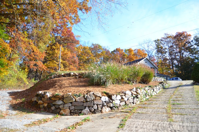 Rock Wall with Ornamental Grasses in Fall at Stonecrest Manor