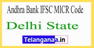 Andhra Bank IFSC MICR Code Delhi State
