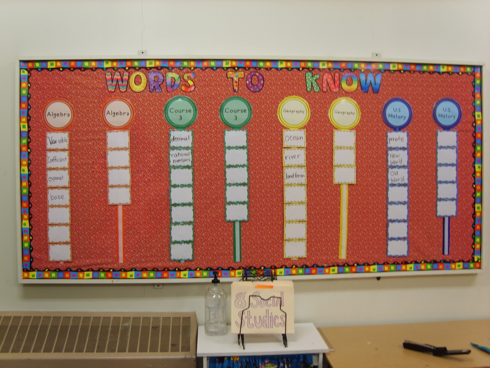 A Sea Of Math Word Wall
