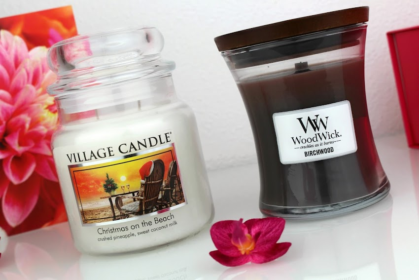 Swap blog beauté bougies Village Candle Christmas on the Beach et WoodWick Birchwood