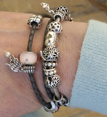 Pandora double leather grey bracelet with pink charms