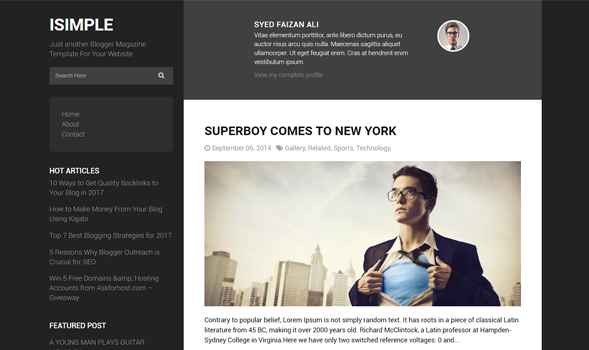 I Simple Classic responsive blogger Template