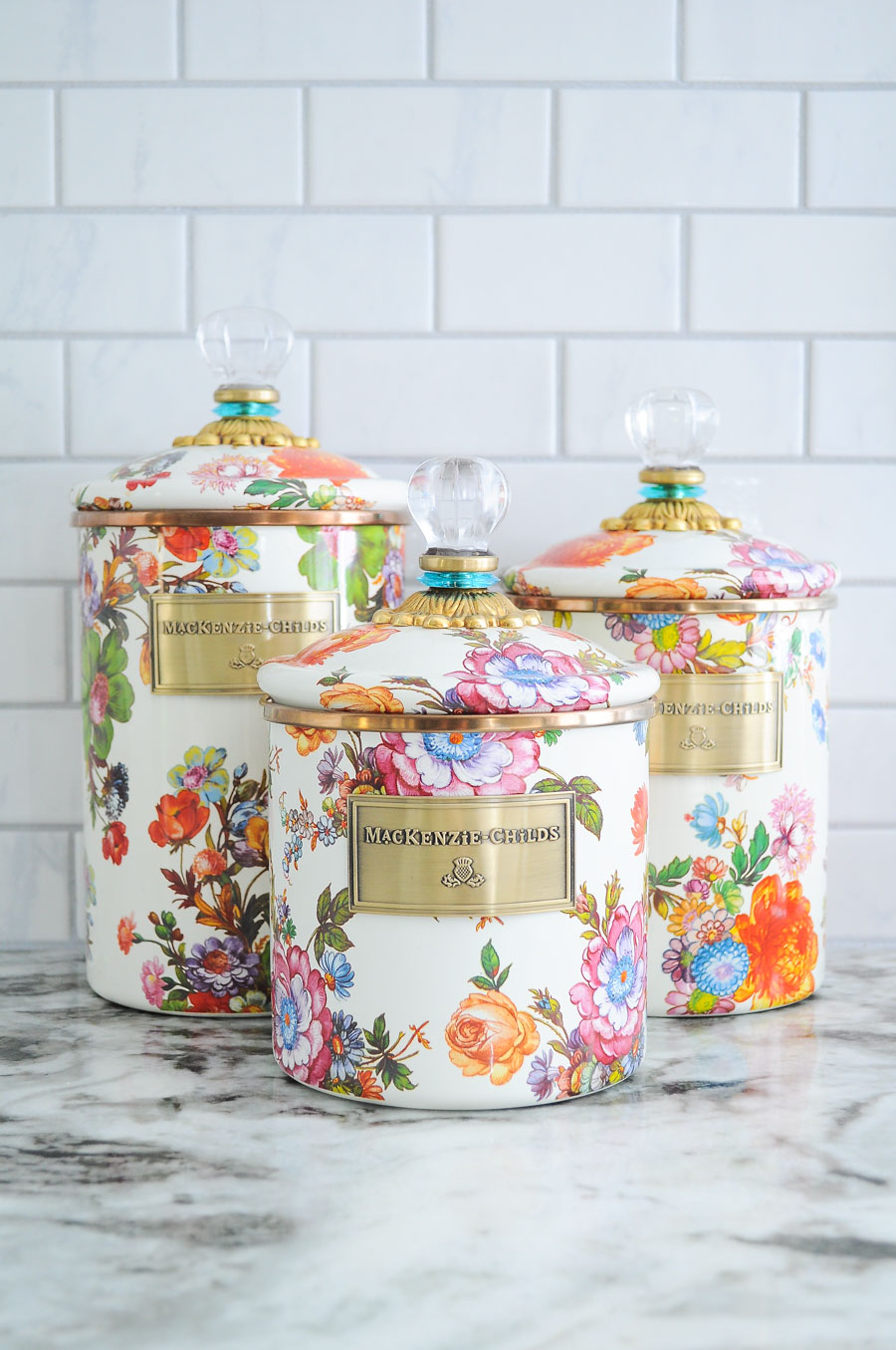 These floral and crystal kitchen canisters are gorgeous!