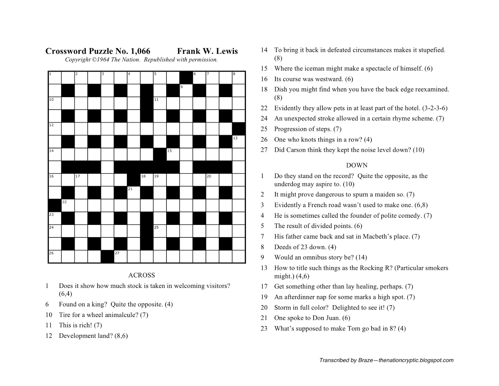 image relating to Cryptic Crosswords Printable named The State Cryptic Crossword Discussion board: Nat Hentoff (Puzzle No