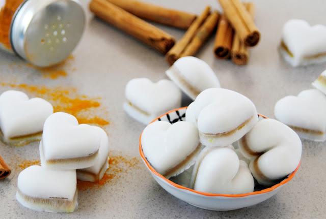 Heart shaped coconut milk and turmeric dog treats