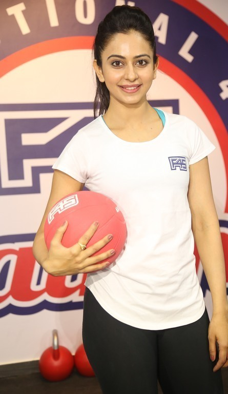 South Indian Actress Rakul Preet Singh F45 Training Fitness Gym launch Photos