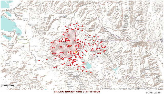 ROCKY FIRE HOT SPOT AND PERIMETER MAP