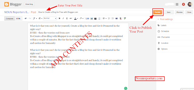 How to Write and Publsih a Post on a Blogspot Blog