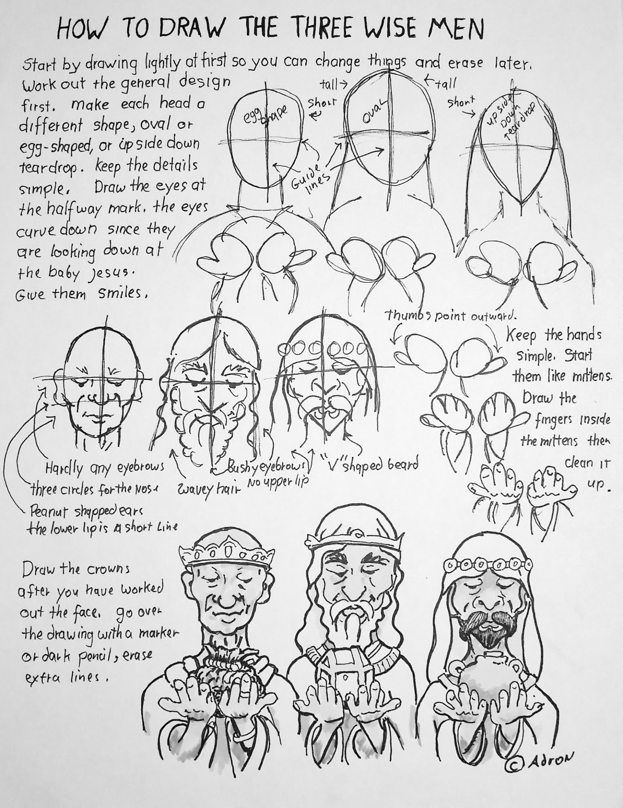 How To Draw Worksheets For The Young Artist How To Draw The Three Wise Men Lesson And Worksheet