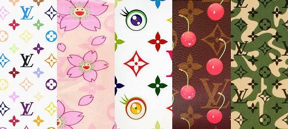 Louis Vuitton-Murakami  Monogram Multicolor (2003), Cherry Blossom (2003), Eye Monogram serie (dal 2003), Monogram Cerise (2004), Monogramouflage (2008)