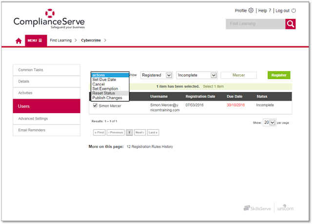 ComplianceServe screen grab showing how to reset user status