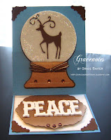 Deer Snow Globe, easel card. Designed by Grace Baxter